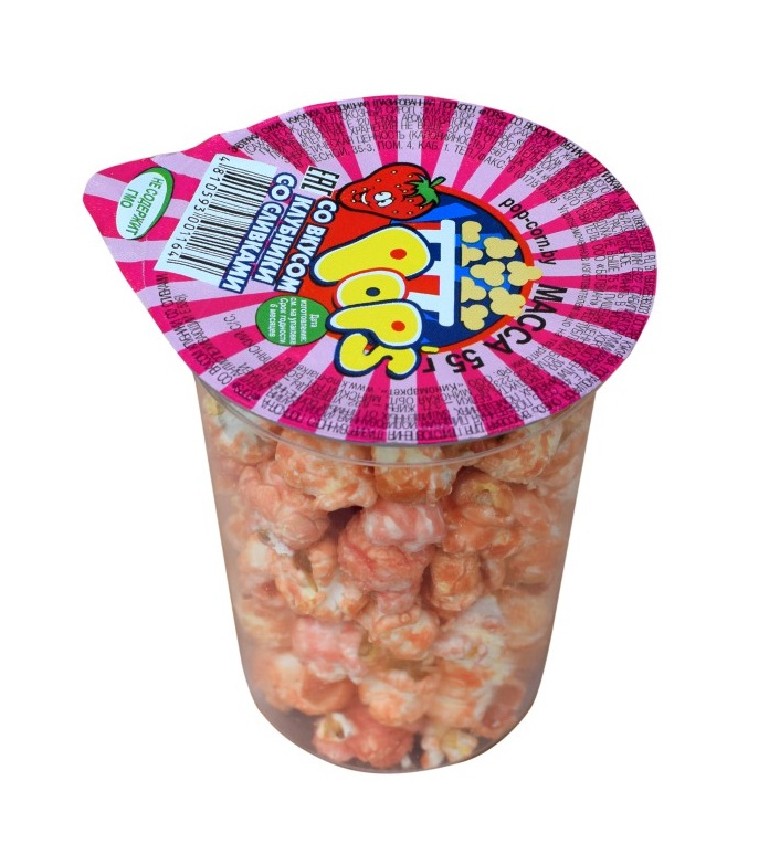"Кукуруза воздушная ""Попкорн Pop's"" со вкусом Клубника со сливками, 55 г"
