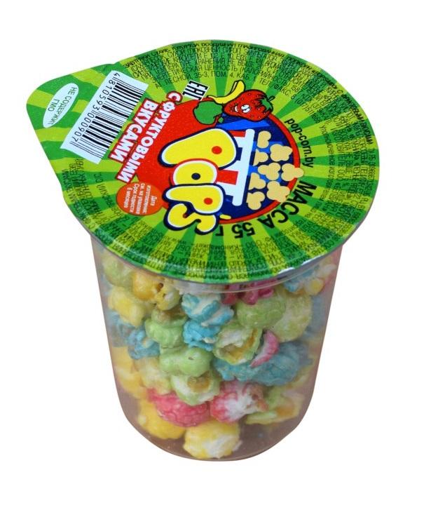 """Кукуруза воздушная """"Попкорн POP'S"""" с фруктовыми вкусами, 55 г"""