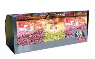 Тепловая витрина (3 секции)  для хранения и продажи готового попкорна