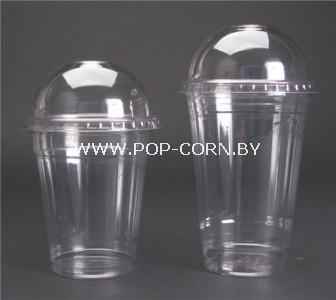 Стакан пластиковый с купольной крышкой PET, 300 мл