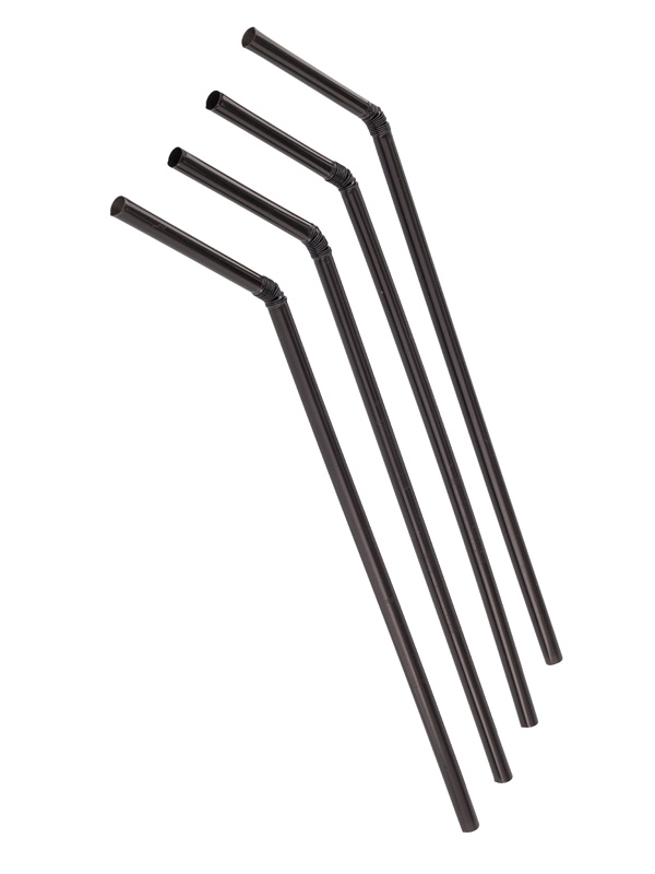 Трубочка полимерная гофрированая 5x210, ЧЁРНАЯ, 1000 шт/уп