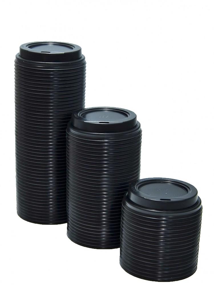 Крышка для кофейного бумажного стакана (д.80мм) 250мл, ЧЁРНАЯ,  РФ, 100шт