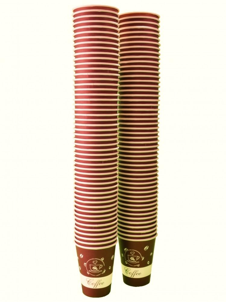 """Стакан бумажный для холодных/горячих жидкостей 350мл, Беларусь, дизайн """"КОФЕ"""", 100шт/уп"""