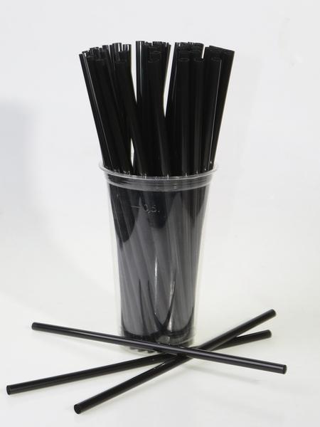 Трубочка полимерная для напитков 240x8, цвет ЧЁРНЫЙ, 250 шт